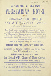 Advert for the Charing Cross Vegetarian Hotel